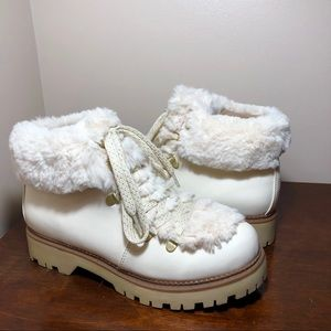 Cream vegan leather and faux fur ankle boots NEW